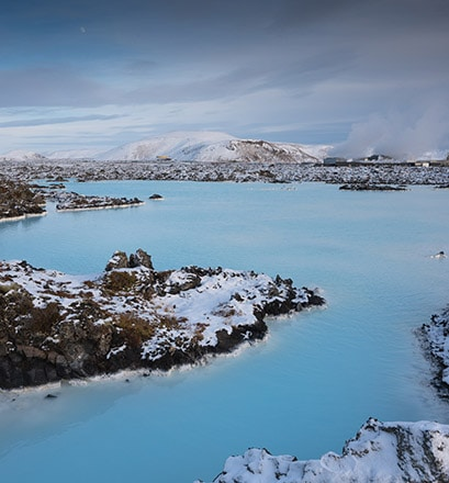 Relax in the warm water baths of the blue Lagoon