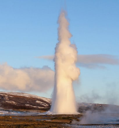 Be amazed by the geysers and waterfalls