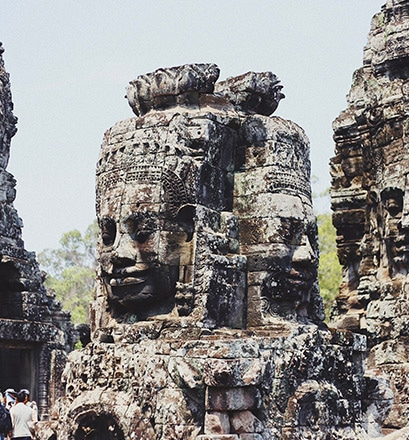 Go further afield to the temples of Angkor, Cambodia